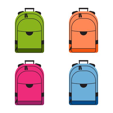 rucksacks: Set of colorful school rucksacks. Illustration