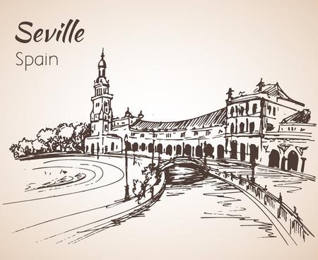 Sketch of spain city seville. Illustration