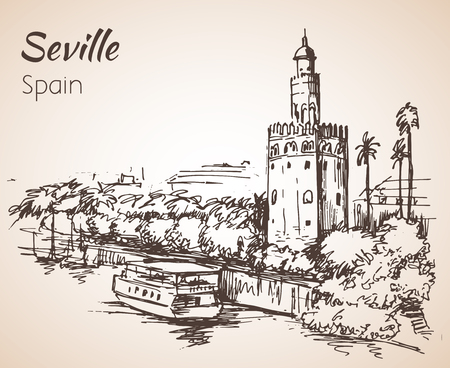 Sketch of spain city seville. 向量圖像