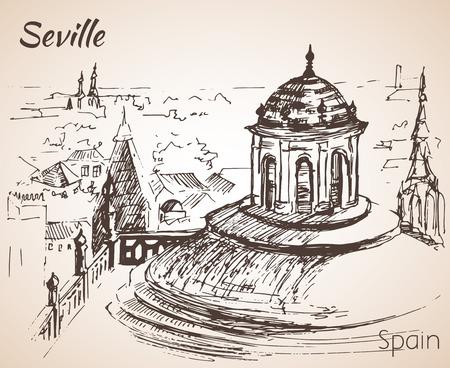 Sketch of spain city seville. Иллюстрация