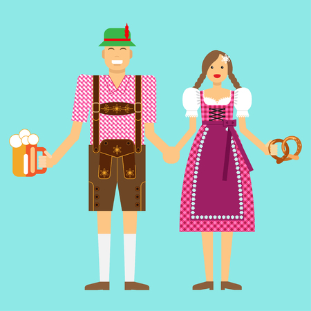 One couple in Typical national costumes at the Oktoberfest in Munich isolated on white background