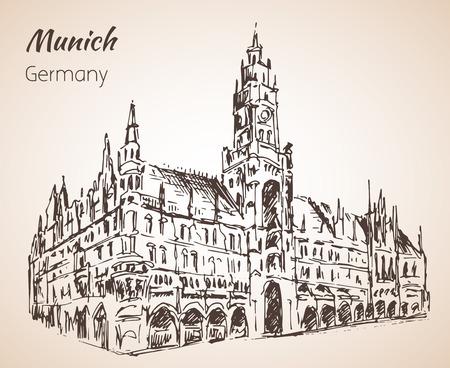 Neues Rathaus - Nuovo Rathaus. Munchen, Germania schizzo isolato su sfondo bianco