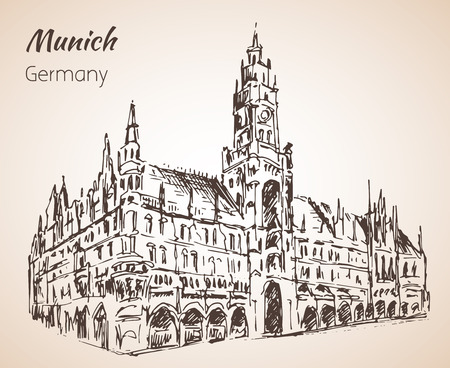 Neues Rathaus - New Rathaus. Munchen, Germany sketch isolated on white background Illustration