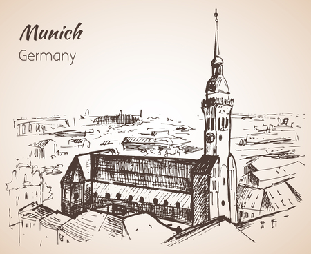 Munchen city landscape, Germany sketch isolated on white background Vektoros illusztráció
