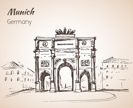 Siegestor in München at the Leopoldstrasse, Germany sketch isolated on white background Vektoros illusztráció