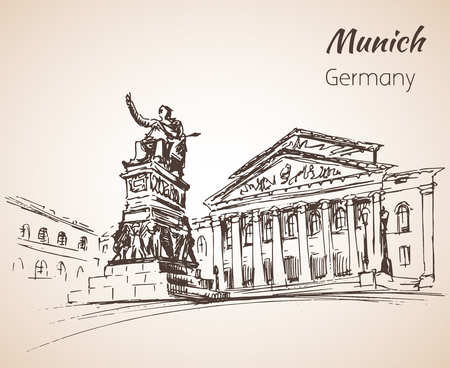 Munchen city landscape, Germany sketch isolated on white background