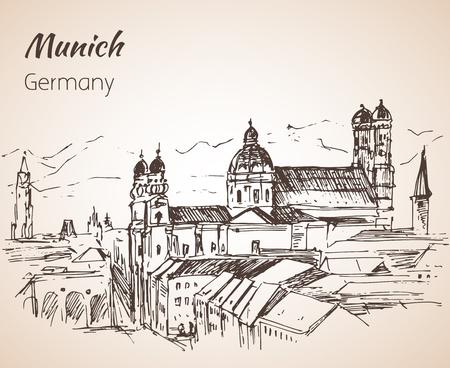 뮌헨 도시 풍경, 독일입니다. Frauenkirche. 흰색 배경에 고립 된 우리 레이디 독일 스케치의 교회