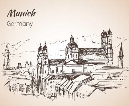 Munchen city landscape, Germany. Frauenkirche. Church of Our Lady Germany sketch isolated on white background Illustration