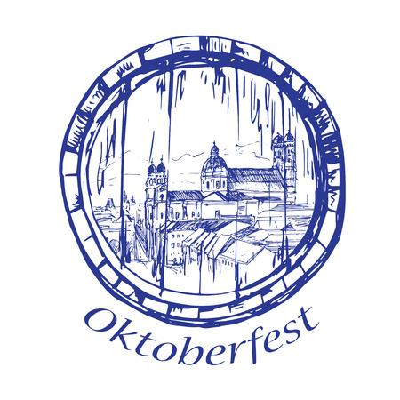 bayern old town: Munchen city landscape inside barrel, Germany sketch isolated on white background Illustration