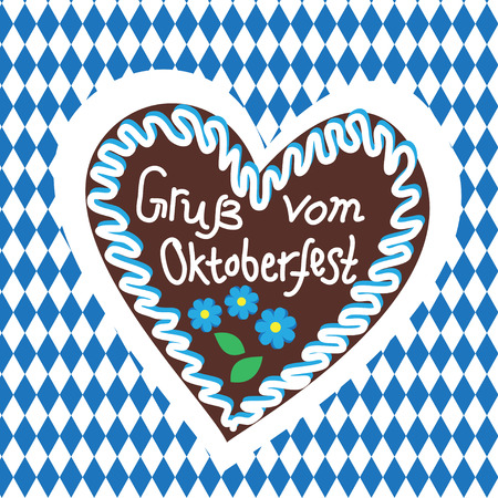 Typical souvenir at the Oktoberfest in Munich -gingerbread-heart, lebkuchenherz isolated on white background and typical pattern Illustration