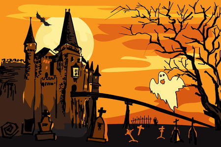 Old building with ghost at night, Halloween orange background.