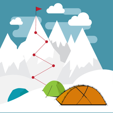 Different types of tents in the white snow mountaint with target and flag on the top.