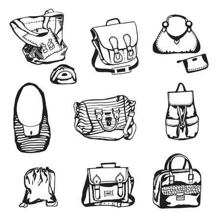 Different styled bags isolated on white background.