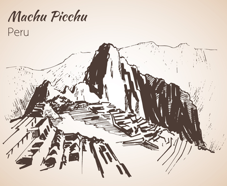 Ruin of ancient civilization Machu Picchu. Peru, sketch. Isolated on white background