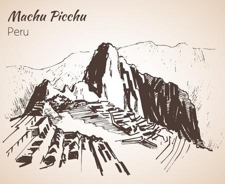 Rovina dell'antica civiltà Machu Picchu. Perù, schizzo. Isolato su sfondo bianco