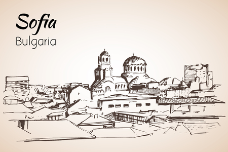 Sofia city panorama, Bulgaria. Sketch. Isolated on white background