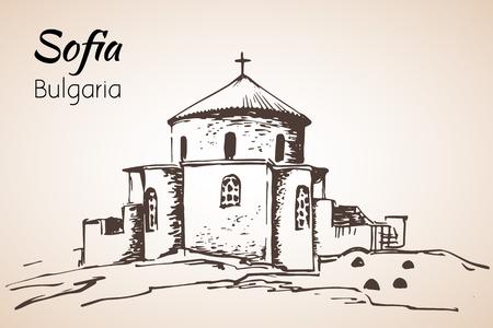 Boyana Church, Sofia city panorama, Bulgaria. Sketch. Isolated on white background