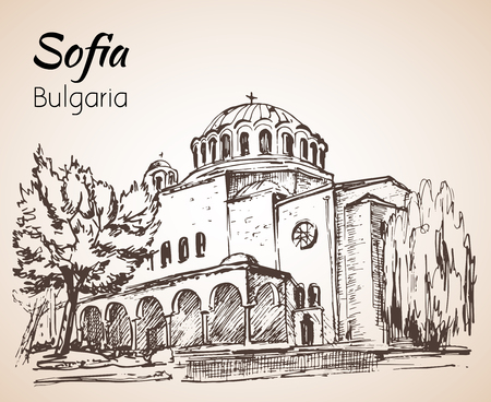 Sveta Nedelya Church Sofia. Sofia city panorama, Bulgaria. Sketch. Isolated on white background