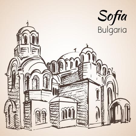 スヴェティ・セドモチスレニチ・キルチェブルガリアのソフィアスケッチ。白い背景に隔離されています。