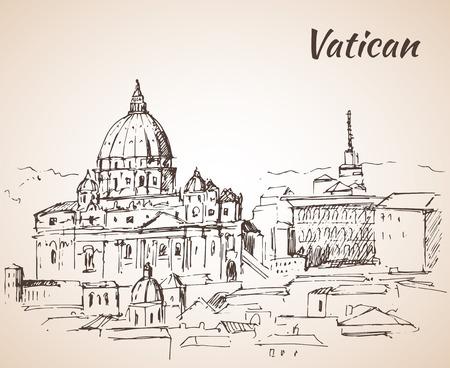 Vaticaanstad landschap. Schetsen. Geïsoleerd op witte achtergrond Vector Illustratie