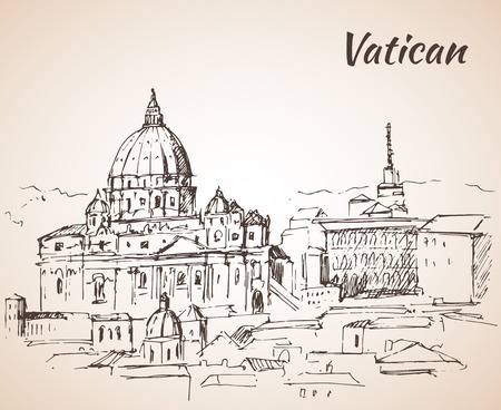 Vatican city landscape. Sketch. Isolated on white background Çizim