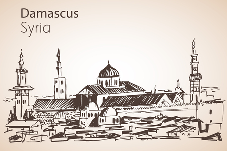 Panoramic view of city Damaskus, The Great Mosque, Syria. Sketch. Isolated on white background