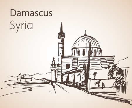 Panoramic view of city Damaskus, Sinan Pasha Mosque, Syria. Sketch. Isolated on white background Ilustração