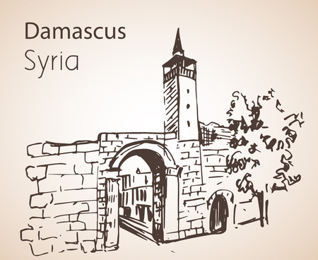 Panoramic view of city Damaskus, Syria. Sketch. Isolated on white background