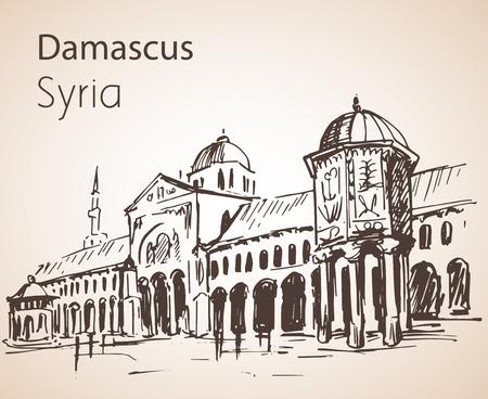 Vista panorámica de la ciudad de Damasco, la mezquita de los Omeyas, Siria. Bosquejo. Aislado sobre fondo blanco