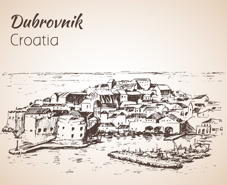 Old city Dubrovnik, Croatia. Sketch. Isolated on white background Ilustração