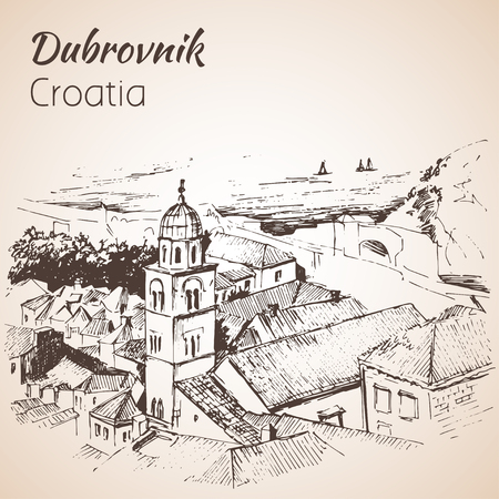 Old city Dubrovnik, Croatia. Sketch. Isolated on white background Illustration
