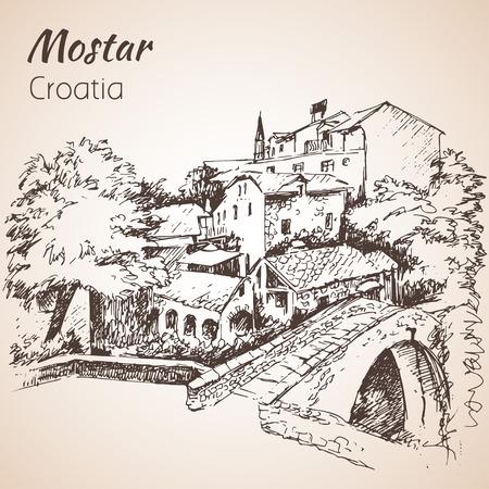 Croatia. Sketch. Isolated on white background
