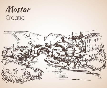 Old town of Mostar, Croatia. Croatia. Sketch. Isolated on white background