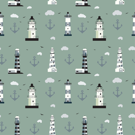 Seamless background with different Lighthouses isolated on grey background. With cloud, anchor, sky and birds