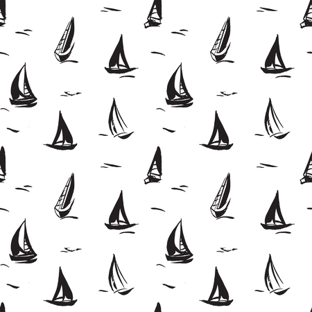 Hand drawn seamless pattern with sailboats. Isolated on white background