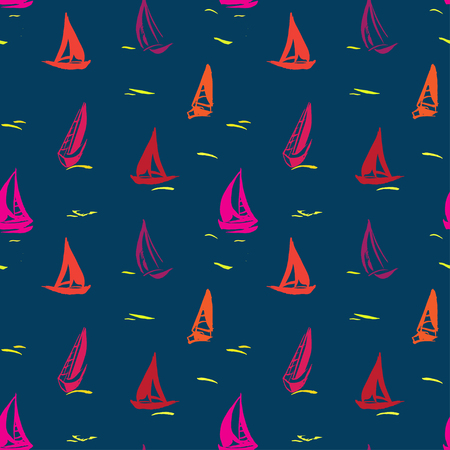 Hand drawn seamless pattern with sailboats. Isolated on blue background