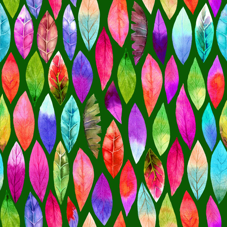 Colorful different leaf seamless pattern. Abstract colors, joyful.  On dark background