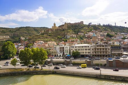 Tbilisi, Georgia. 15.08.2018 Panorama of Tbilisi. Narikala is an ancient fortress overlooking Tbilisi, the capital of Georgia 新聞圖片