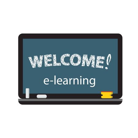 Symbol of e-learning with desk, notebook and other things at home. Isolated Illustration