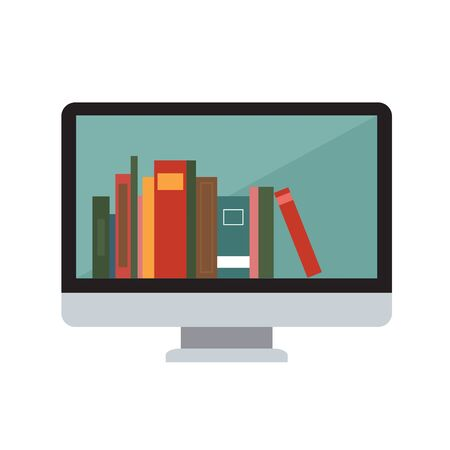 Symbol of e-learning with monitor and many books inside. Isolated
