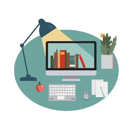 Symbol of e-learning with monitor, keyboard, lamp and other things at home. Isolated
