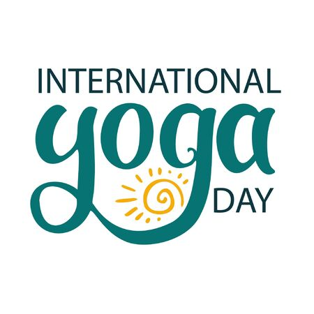 Yoga sign lettering. International yoga day. Hand drawn lettering on white background. Yoga script, yoga words. Lettering with ink pen.