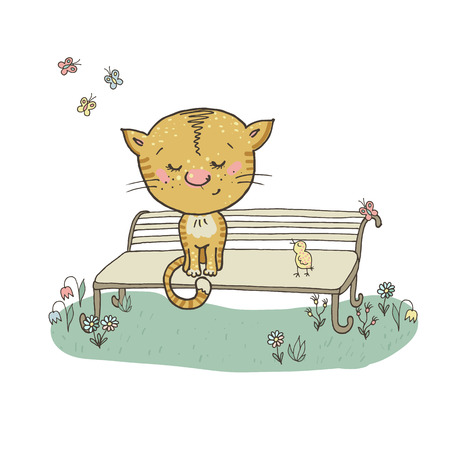 modest: cat and bird on a bench surrounded by flowers and butterflies. Cute cat. Hand drawn Illustration