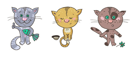 smileys: Three cats - smileys different emotions Illustration