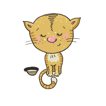 cute kitten: shy and cute kitten sitting next to a bowl. Cute cat in cartoon style. Illustration hand drawn