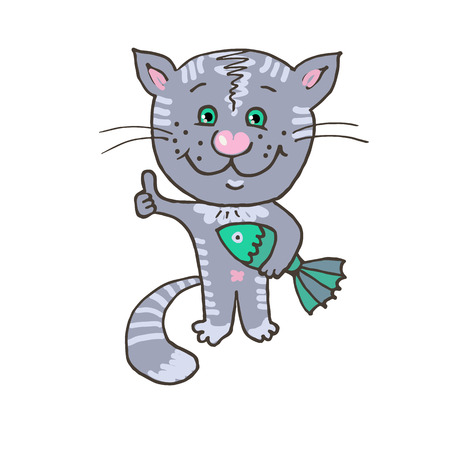 gray cat: Happy and cheerful cat caught fish. Charming gray cat with fish. Illustration of cute tabby drawn manually. Cartoon style