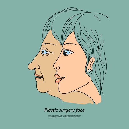 face surgery: Plastic surgery face. Caring for the environment ecology. Sweet illustration of hand-drawn cartoon-style