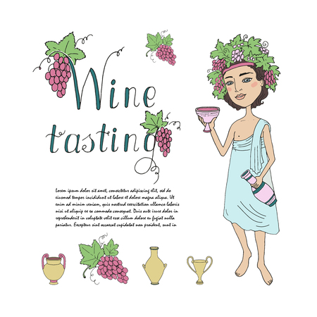 wine grape: God of wine Bacchus with a glass of wine in hand. Invitation to wine tasting. Lovely character on a white background with grapes and antique jugs and glasses for wine. Cartoon style. drawn by hand