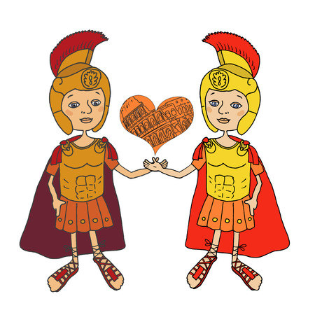keep in: Color Image Two Roman gladiators in armor, helmet and sandals. Cartoon style. Cute illustration drawn by hand. Welcome to Rome. Keep in the hands of the heart with the Coliseum Circuit
