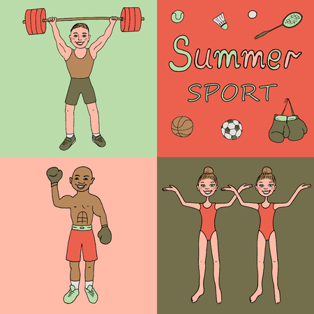 synchronized: Colorful illustration of three athletes engaged in different kinds of sports - boxer, weightlifter, synchronized swimming. Cute illustration drawn by hand in cartoon style